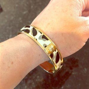 Coach Animal Print Bangle, Gold & White Bracelet